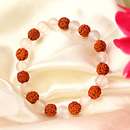 Rose Quartz and Five Mukhi Bracelet