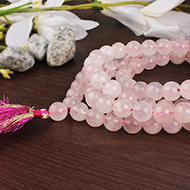 Rose Quartz round mala - 10 mm