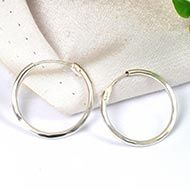 Round earrings in pure silver - Design -  XIV