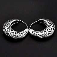 Round earrings in pure silver - Design - X