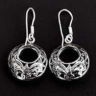 Round earrings in pure silver - Design - XI
