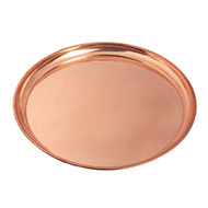 Round Puja Plate in Copper