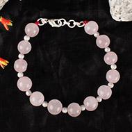 Round Rose Quartz Bracelet - Design I