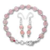 Round Rose Quartz Bracelet-Earrings Set - 8 mm