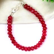Ruby faceted Bracelet - Elliptical beads