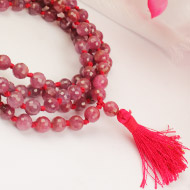 Ruby faceted Mala - 6mm