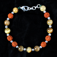 Rudraksha and Brown Cats Eye Bracelet - Design I