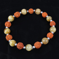 Rudraksha and Brown Cats Eye Bracelet - Design II