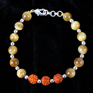 Rudraksha and Brown Cats Eye Bracelet - Design III