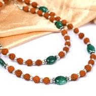 Rudraksha and Emerald mala