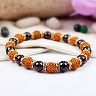 Rudraksha and Garnet Bracelet