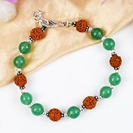 Rudraksha and Green Jade bracelet - Design I
