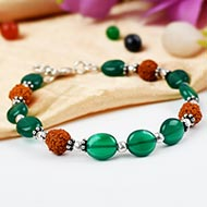 Rudraksha and Green Onyx bracelet - I