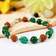 Rudraksha and Green Onyx bracelet - II