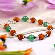 Rudraksha and Green Jade bracelet