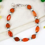 Rudraksha and Red Carnelian bracelet
