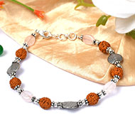 Rudraksha and Rose Quartz Bracelet - I