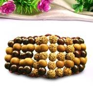 Rudraksha and Sandalwood Multi Beads Bracelet
