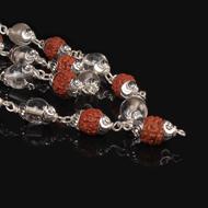 Rudraksha and Sphatik mala in silver designer caps - 6mm