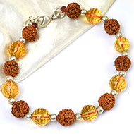 Rudraksha and Yellow Citrine Feceted Bracelet
