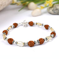 Rudraksha and Citrine oval Bracelet