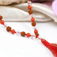 Rudraksha Coral and faceted Sphatik mala in t..