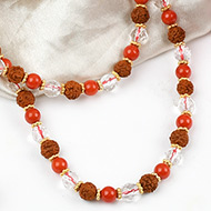 Rudraksha Coral and faceted Sphatik mala with silver spacers