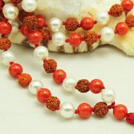 Rudraksha Coral and  Pearl mala in thread