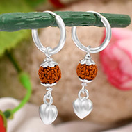 Rudraksha Earrings with Heart locket
