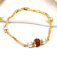 Rudraksha punchmukhi Bracelet with pearl beads in pure gold chain