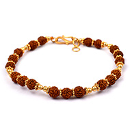 Rudraksha punchmukhi Bracelet with pure gold ..