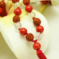 Rudraksha Sphatik & Coral mala and thread