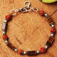 Rudraksha Tiger Eye Cylinder bead Bracelet