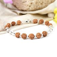 Rudraksha with faceted Crystal Bracelet