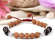 Rudraksha with Sphatik and Red Tiger Eye Bracelet