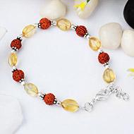 Rudraksha Yellow Topaz Bracelet -Design I