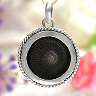 Shaligram locket in pure silver