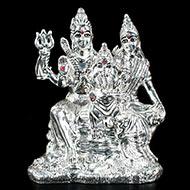Shiv Parivar in pure silver - I