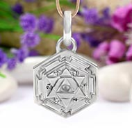 Shiva Yantra Locket in Silver - 3D