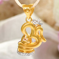 Shivling with Om locket in Pure Gold -1.6 gms
