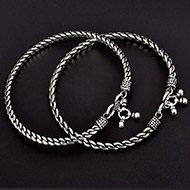 Silver Anklets - Set of 2