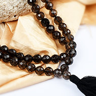 Smoky Quartz Round faceted mala - 10 mm