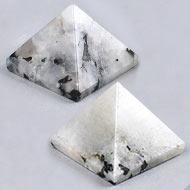 Snowflakes  Obsidian Pyramid - Set of 2