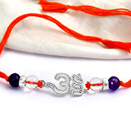 Sphatik and Amethyst beads Rakhi with pure silver accessories in thread