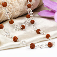 Sphatik and Rudraksha necklace in silver