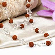 Sphatik and Rudraksha necklace in silver
