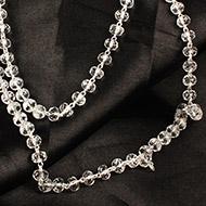 Sphatik Diamond Cut Mala in Silver - Button Shape
