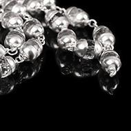 Sphatik Diamond cut mala in silver caps - 7mm