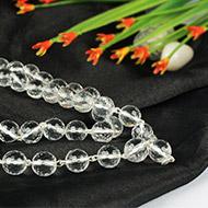 Sphatik Diamond cut mala in silver