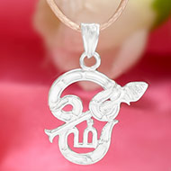 Tamil OM Locket in pure silver - III